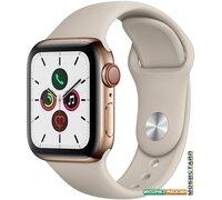 Умные часы Apple Watch Series 5 LTE 40 мм (сталь золотистый/песочный спортивный)