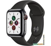Умные часы Apple Watch Series 5 LTE 40 мм (сталь черный/черный спортивный)