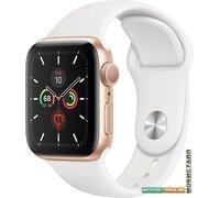 Умные часы Apple Watch Series 5 40 мм (алюминий золотистый/белый спортивный)
