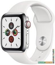 Умные часы Apple Watch Series 5 LTE 40 мм (сталь серебристый/белый спортивный)