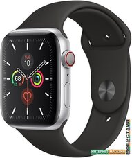 Умные часы Apple Watch Series 5 LTE 44 мм (серебристый алюминий/черный)