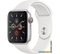 Умные часы Apple Watch Series 5 LTE 44 мм (серебристый алюминий/белый спортивный)