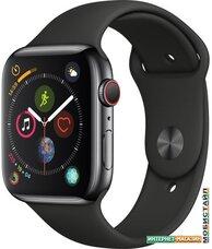 Умные часы Apple Watch Series 4 LTE 44 мм (сталь черный космос/черный)
