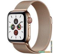 Умные часы Apple Watch Series 5 LTE 40 мм (сталь золотистый/миланский золотой)