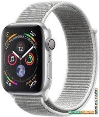 Умные часы Apple Watch Series 4 44 мм (алюминий серебристый/нейлон белая ракушка)