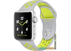 Умные часы Apple Watch Nike+ 38mm Silver with Flat Silver/Volt Nike Band [MNYP2]