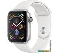 Умные часы Apple Watch Series 4 44 мм (алюминий серебристый/белый)