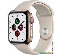 Умные часы Apple Watch Series 5 LTE 44 мм (сталь золотистый/песочный спортивный)