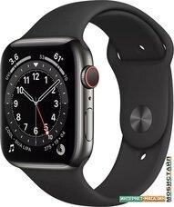 Умные часы Apple Watch Series 6 LTE 44 мм (сталь графитовый/черный спортивный)