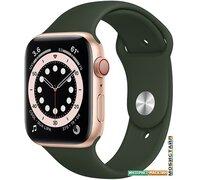 Умные часы Apple Watch Series 6 LTE 44 мм (сталь золотистый/зеленый спортивный)