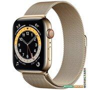 Умные часы Apple Watch Series 6 LTE 44 мм (сталь золотистый/миланский золотой)