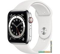 Умные часы Apple Watch Series 6 LTE 44 мм (сталь серебристый/белый спортивный)