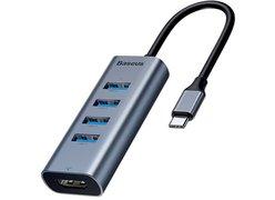 USB-концентратор Baseus Enjoyment Series USB-C to HDMI/4xUSB 3.0 CAHUB-N0G