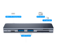 USB-концентратор Baseus Type-C to USB3.0x2/SD/TF/Type-C PD для MacBook Pro