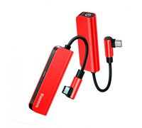 Переходник Baseus L53 USB-C 3.5mm красно-черный
