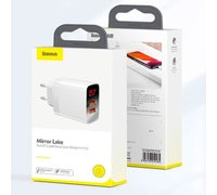 Зарядное устройство Baseus Mirror Lake Dual Digital Display Quick Charger A+A EU белый