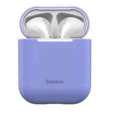 Кейс с разъемом для зарядки Baseus Airpods 2/1 Ultrathin Series Silica Gel Protector пурпурный