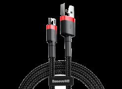 Кабель Baseus Cafule Usb to Micro Usb cable 2.4A 0.5M CAM красно-черный