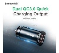 Автомобильно зарядное устройство Baseus Car Charger Dual+USB QuickCharge3 30W черный