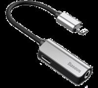 Адаптер Baseus iPhone 7/7Plus - L32 IP Male to 3.5mm+IP Female серый