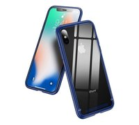 Baseus See-through glass protective case For iPhone X синий