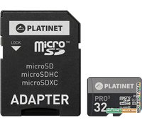 Карта памяти Platinet PMMSD32UIII 32GB + адаптер