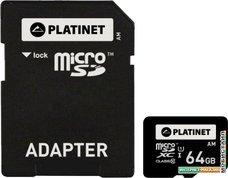 Карта памяти Platinet PMMSDX64 64GB + адаптер