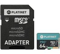 Карта памяти Platinet PMMSDX64UI 64GB + адаптер