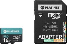 Карта памяти Platinet PMMSD16UI 16GB + адаптер