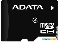 Карта памяти A-Data microSDHC (Class 4) 8Gb (AUSDH8GCL4-RA1)