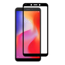 Защитное стекло Xiaomi Redmi 6/6A ЧЁРНОЕ (ПОЛНАЯ ПРОКЛЕЙКА)