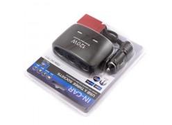 Разветвитель прикуривателя на 3 выхода + 2 USB со шнуром (Olesson 1511) 120w чёрный