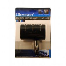 Разветвитель прикуривателя на 3 выхода + 2 USB (Olesson 1520) 120w черный