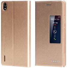Чехол (книжка) Rock для Huawei Ascend P7 Feather series gold